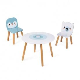 Table et 2 chaises Banquise (bois) - JANOD